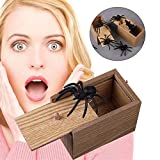 Broma de Madera Caja de susto de araña, Estuche de Madera Broma Realista Mordaza Juguete Sorpresa Divertido Práctico Divertido Broma Juguetón Travieso Regalo