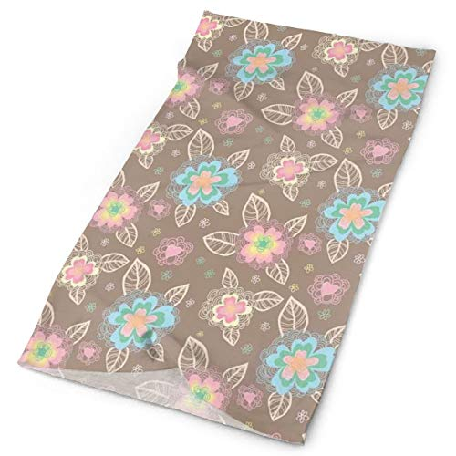 GUUi Headwear Headband Head Scarf Wrap Sweatband,Romantic and Cute Spring Nature Inspired Pattern with Colorful Blooms Hand Drawn,Sport Headscarves for Men Women