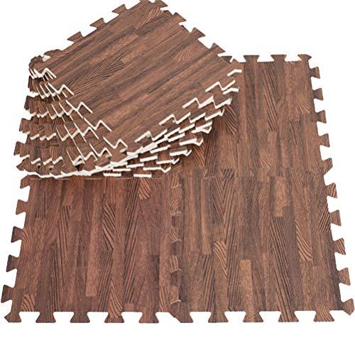 FJROnline Alfombra de suelo de grano de madera, 10 azulejos entrelazados de espuma para gimnasio y decoración del hogar, 30 cm x 30 cm