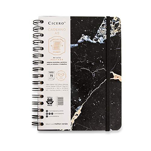 Caderno Wire-o Minerais Pautado, Cicero, A5 Mármore Preto, médio, 90 folhas