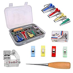 """Bias Tape Maker Set All 4 Sizes 1/4"""" 1/2"""" 3/4"""" 1"""" 6mm/12mm/18mm/25mm Binding Foot Craft Clips Awl Quilter's Pin"""
