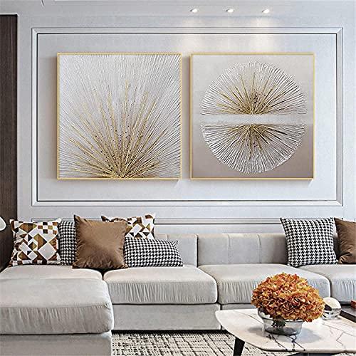 YANHUA Cuadro en lienzo dorado y plateado con hojas para decoración de...