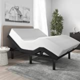 SHA CERLIN Ergonomic Adjustable Bed Base Frame /Full Size Bed Frame with Wireless Remote Head and Foot Incline/Comfortable Upholstered Linen Fabric Attached (Base Only)