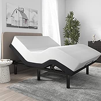 SHA CERLIN Ergonomic Adjustable Bed Base Frame /Full Size Bed Frame with Wireless Remote Head and Foot Incline/Comfortable Upholstered Linen Fabric Attached  Base Only
