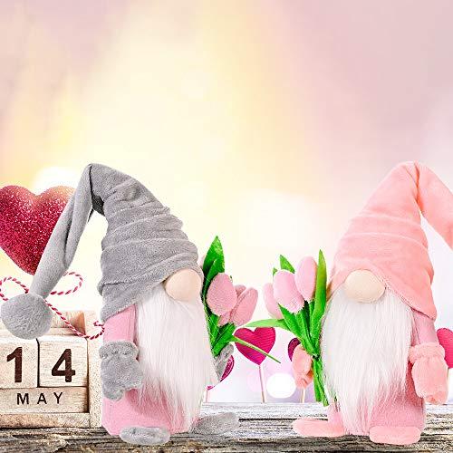 Super Idee Stehende Niedliche Wichtel mit tulpen Blumensträuße Süßer Zwerg Wichtel Figuren Geschenk für Frauen Mama Hochzeitstag Freundin Ehefrau Muttertag Dankeschön