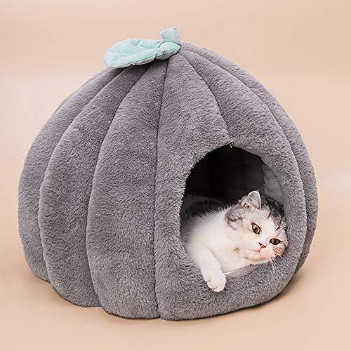Urijk Katzenhöhlen Katzenbett Kuschelhöhle mit abnehmbar weich Innerkissen Schlafsack Katzenzelt Katzenkorb Tierbett zum Schlafen für Kleine bis Mittlere Größe Katzen (40x45cm, Dunkelgrau)