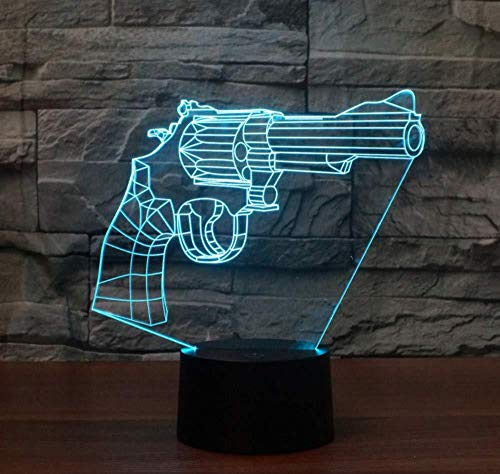 xcdfr 3D Night Light Child Revolver 3D Light Colorful Touch Charging Led Visual Light Decoration Atmosphere