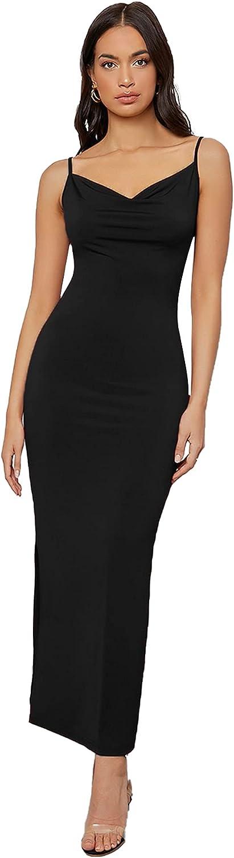 Verdusa Women's Cowl Neck Split Side Spaghetti Strap Long Cami Dress