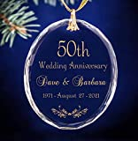 Gold 50th Golden Wedding Anniversary Personalized Keepsake Glass Oval Christmas Ornament ANY Anniversary Year Available