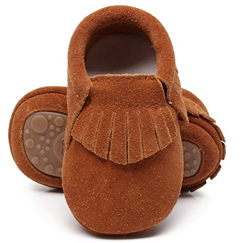 HONGTEYA Leather Baby Moccasins Hard Soled Tassel Crib Toddler Shoes for Boys and Girls (18-24 Months/5.51inch, Suede Dark Brown)