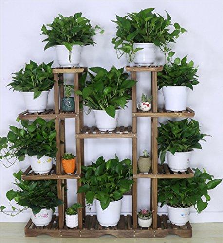 Support en bois solide de fleur/supports multifonctionnels de rayonnage de Bonsai, intérieur et extérieur