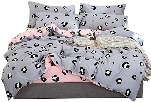 XZHYMJ Duvet Cover and Pillowcase Set Microfibre With Cotton Renforcé Zip Duvet Cover Bedding Set Reversible Single Double Girl 220 x 240 cm Flower Pink c 150 * 200CM-B_150*200CM