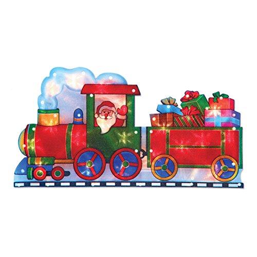 The Christmas Workshop Decorazione Luminosa con 20 LED, Babbo Natale sul Treno, Alimentazione a Batteria