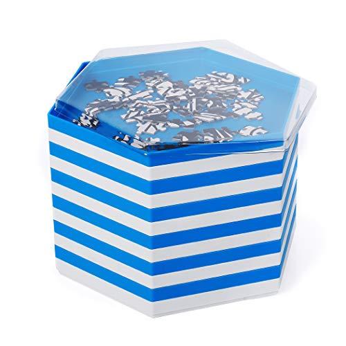 Becko stapelbare Puzzle Sortiertabletts / Sortierschalen / Puzzle sortierer mit Deckel, Puzzle Zubehör für Puzzles bis zu 2000 Stück, 12 sechseckige tabletts / Schalen in Weiß und Blau