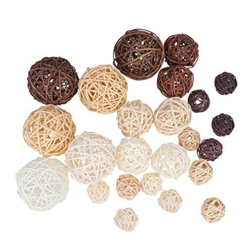 IMIKEYA Bolas Decorativas de 24 Piezas Bolas Decorativas para El Hogar Bolas de Vid Tejidas a Mano Bolas de Ratán Bolas Colgantes de Árbol Adornos de Jarrón Esferas Orbes de Relleno