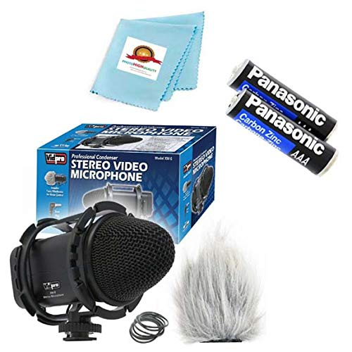 External Professional Condenser Stereo Video Microphone + Soft Case for Canon VIXIA HF G20, HFG20, Video Camcorder