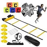 Kit Entrenamiento Futbol, Escalera Entrenamiento para Niños Adultos, con Escalera de Agilidad 6m, Paracaídas de Resistencia, Cono, Clavo de Tierra,...