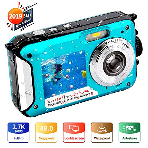 Underwater Camera FHD 2.7K 48 MP Waterproof Digital Camera Selfie Dual Screen Full-Color LCD Displays Waterproof Digital Camera for Snorkeling (806BC)