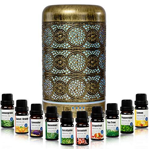 EDDA98 Aroma Diffuser 260 ml Metall Aromatherapie Diffusor & Top 10 Ätherische Öle 10x10ml 100% Naturrein Luftbefeuchter mit 7 lichtfarben und Timer ideal für Zuhause,Büro Lernen, Yoga, Spa