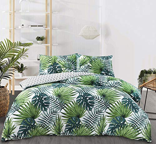 Night Comfort Eco Breathable Tropical Forrest Green Palm Leaf Cotton Blend Reversable Modern Duvet Cover Set With Pillowcases (King Size)