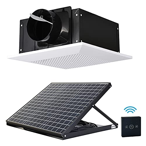 SIPLCN 12'' Solar Ceiling Exhaust Fan with Remote Control, Quiet Ventilation System with Dual Power Supplies, 26ft Long Hose & Vent Cover, Efficient Brushless DC Motor, 178CFM, White Square Grille