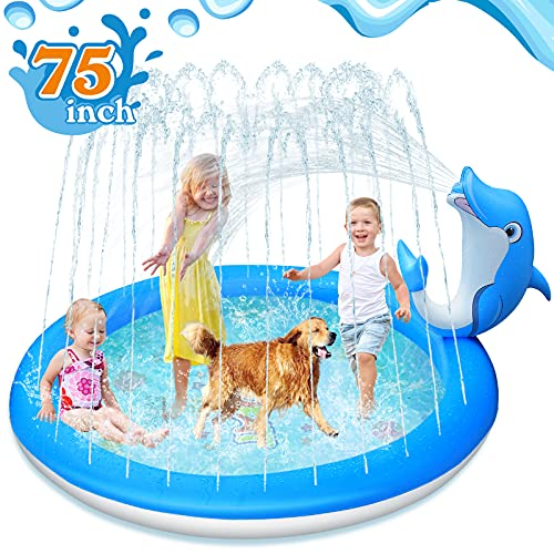 LUKAT Dolphin Splash Pad, 190CM Splash Matte Garten Planschbecken Splash Spielmatte Sprinkler Play Matte Wasserspielzeug Pool für Outdoor Sommer Aufblasbar Sprinklerpool für Kinder Jungen und Mädchen