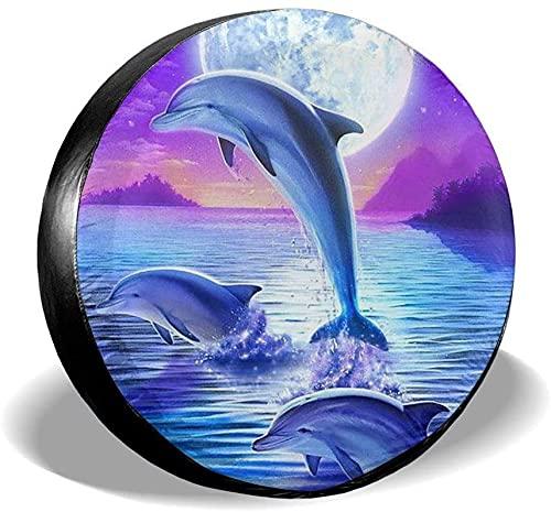 Dolphins Moon - Funda para llanta de repuesto,poliéster,universal,de 16 pulgadas,para rueda de repuesto,para remolques,vehículos recreativos,SUV,ruedas de camiones,camiones,caravanas,accesorios para