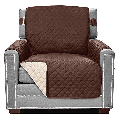"""Sofa Shield Patented Chair Slipcover, Reversible Tear Resistant Soft Quilted Microfiber, 23"""" Seat Width, Durable Furniture Stain Protector with Straps, Washable Cover for Dogs, Kids, Chocolate Beige"""