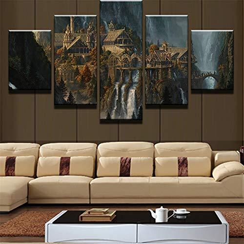 KDLLK Lienzo Arte Impresiones Cartel de Pared Cuadro Modular 5 Panel Señor de los Anillos Decoración del Hogar Sala de Estar Pinturas Modernas Obra de Arte Sin Marco Pintura Mural