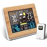 CHWARES Station météo et baromètre avec capteur extérieur, thermometre interieur exterieur sans fil, horloge avec date, hygromètre, phases de la lune et prévisions météo, alarme et fonction snooze