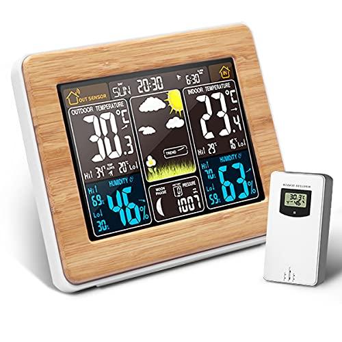 CHWARES Wetterstation Funk mit Außensensor, Thermometer Hygrometer innen/ausen, Uhren mit Wetterstation Farbdisplay, USB Funk Weather Station, Luftdruck, Mondphasen Wettervorhersage Schlummerfunktion