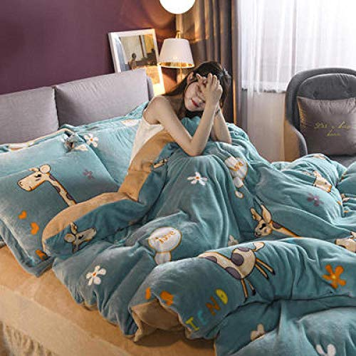teddy bear duvet set double,Winter Thicken Warm Falai Cashmere Student Dormitory Single Double Bed Single Duvet Cover Bed Cover Pillow Case-S_2.0m bed (4 pieces)