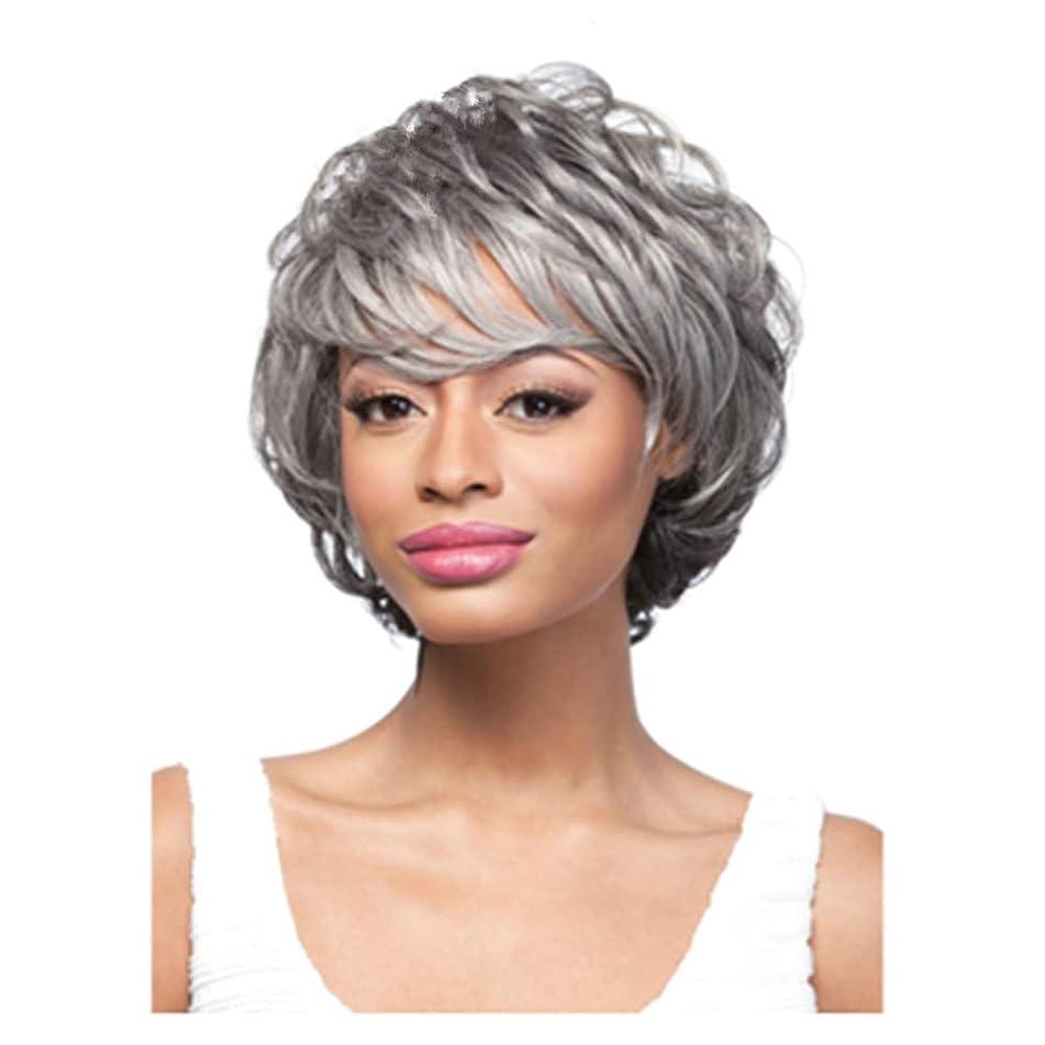 MagicaLove Short Human Hair Synthetic Fiber Wig Gray for Grandma