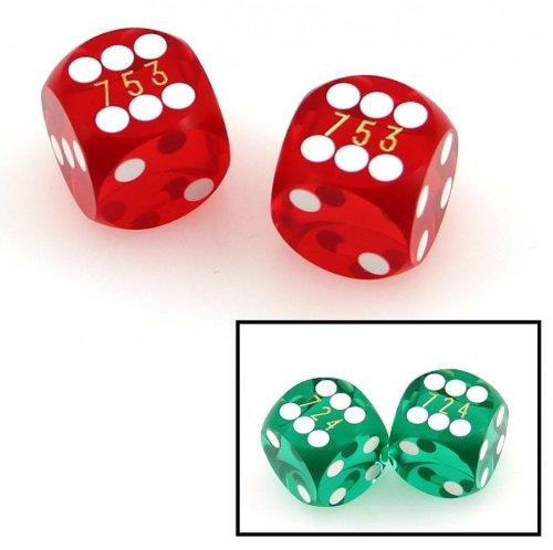 Ludomax Präzisionswürfel, 5/8 (ca. 15,9 mm) Backgammon / Casino Würfel, 2 Stück mit Seriennummern, Farbe:rot