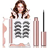 Magnetic Eyelashes With Eyeliner, JOMARTO 5 Pairs False Magnetic Eyelashes Kit Natural Look, Reusable 3D Magnetic lashes with Applicator, No Need Glue Apply