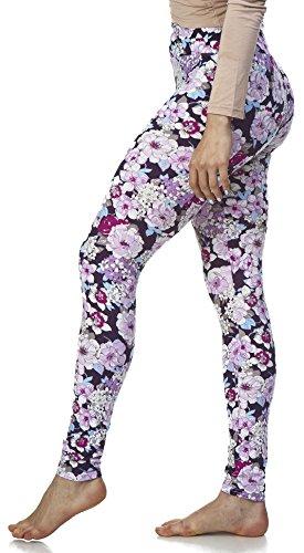 LMB Lush Moda Extra Soft Leggings with Designs High Yoga Waist - Variety of Prints - 703YF Purple Floral B5