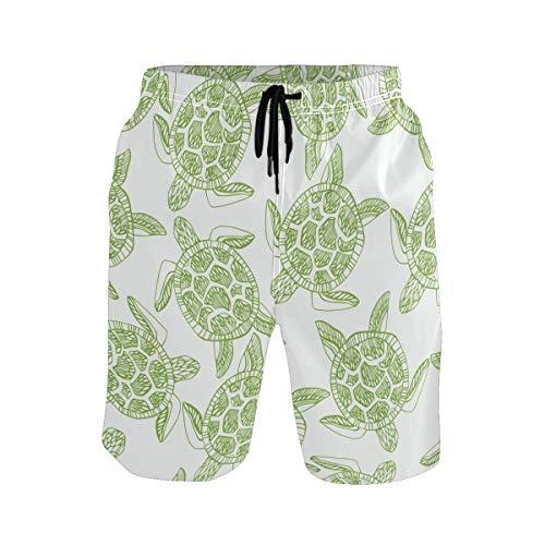 SENNSEE Grüne Schildkröte Süße Badehose für Herren Jungen Schnell Trocknende Strandshorts mit Taschen Gr. Verschiedene Größen, mehrfarbig