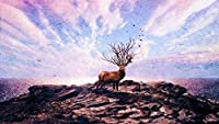 大人のための数字によるペイント子供番号による油絵DIYキットキャンバス家の壁の装飾-鹿アートPhotoshop40×50cm(フレームレス)