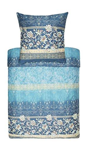 Bassetti Mako-Satin Bettwäsche VASARI 140x200cm, Farbe türkis V2 / Mako-Satin-Bettwäsche mit Reißverschluss / hochwertige Baumwoll-Bettwäsche