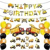 S.Lux Compleanno per la Costruzione Forniture per Feste, Set di Forniture di Compleanno per la Costruzione Striscione di Buon Compleanno e Palloncino in Lattice, Camion Decorazione (Macchina Gialla)