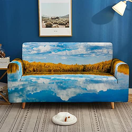 Funda Elástica para Sofá de 1/2/3/4 Plazas, Chickwin Universal Color 3D Montaña Lago Estilo Antideslizante Tejido Elástico Lavable Extensible Cubierta Protector de Sofá (Cielo Azul,3 plazas)