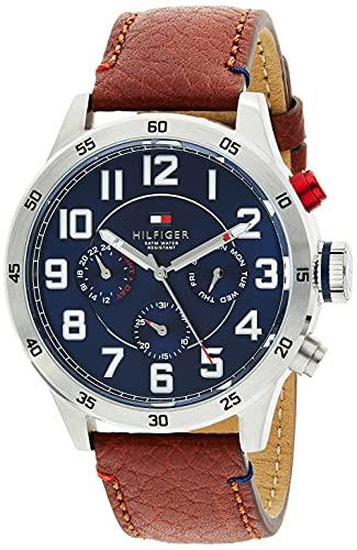 Reloj analógico de cuarzo para hombre Tommy Hilfiger Trent 1791066, correa de piel marrón.