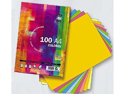 Papel A4 80 Gramos Tauro-Extra 100 Hojas (10 Colores de Tonos Fuertes por 10 Hojas)