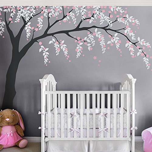 Weeping Willow Tree Decal with Cherry Blossoms - Scheme B - by Simple Shapes