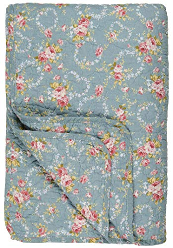 IB Laursen - Tagesdecke, Quilt, Bettüberwurf - Blumen - Baumwolle - hellblau - 180 x 130 cm