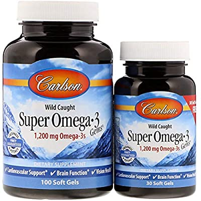 Carlson - Super Omega-3 Gems, 1200 mg Omega-3 Fatty Acids with EPA and DHA, Wild-Caught Norwegian Fish Oil Supplement, Sustainably Sourced Fish Oil Capsules, Omega 3 Supplements, 100+30 Softgels