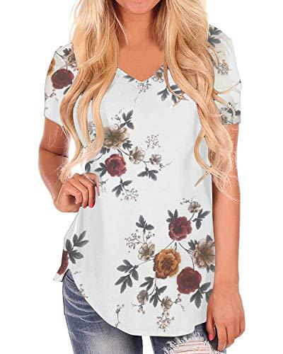 Style Dome Bluse Damen Oversize Blumen Kurzarm Oberteile T-Shirt Casual Sommer Longshirt Tunika Weiß-A19383 EU 48