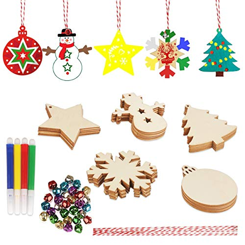 30 Piezas Adornos navideños de madera Set Adornos navideño