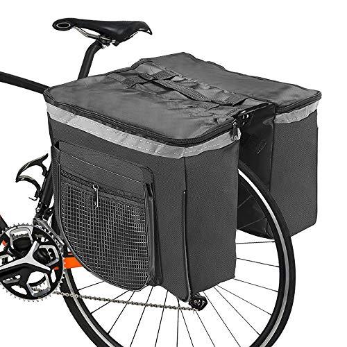 Borsa per Bicicletta,RANJIMA Borse Bici Posteriore Laterali Multifunzionale, Grande Capacità Doppia Borsa per Portapacchi,Borsa Bicicletta Impermeabile per Mountain Bike, Bici da Corsa Outdoor (nero)