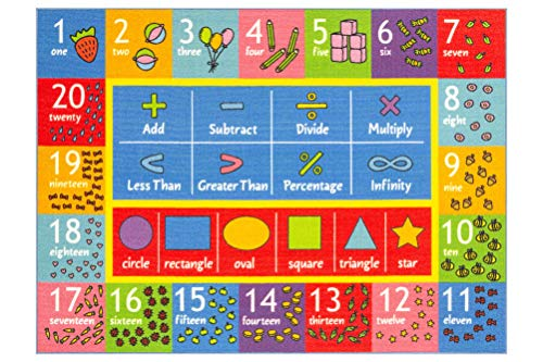 KC Cubs Playtime Collection Math Symbols, Numbers and Shapes Educational Learning & Game Area Rug Carpet for Kids and Children Bedrooms, Classroom and Playroom (3' 3